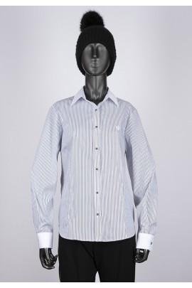 Blusa rayas cuello y puños blanco
